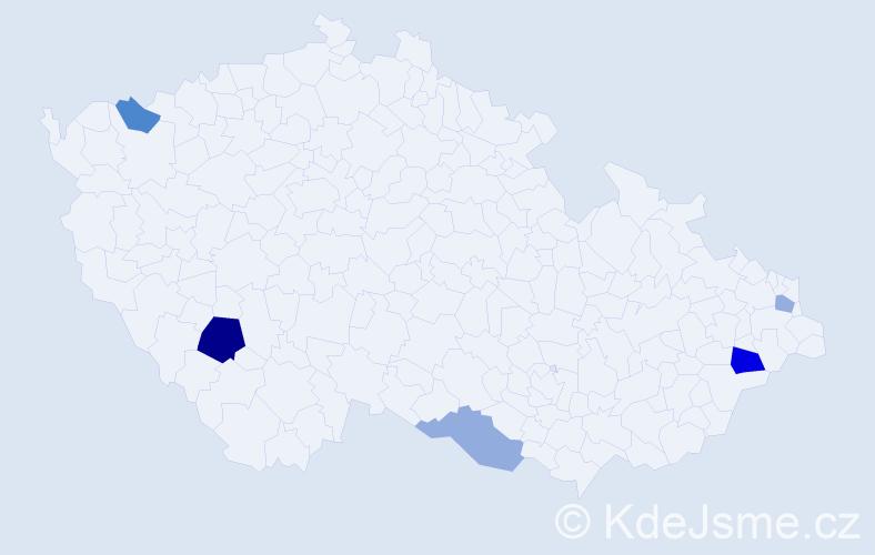 Příjmení: 'Imlingová', počet výskytů 8 v celé ČR