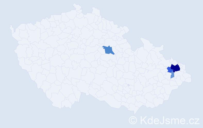 Příjmení: 'Bruzková', počet výskytů 18 v celé ČR