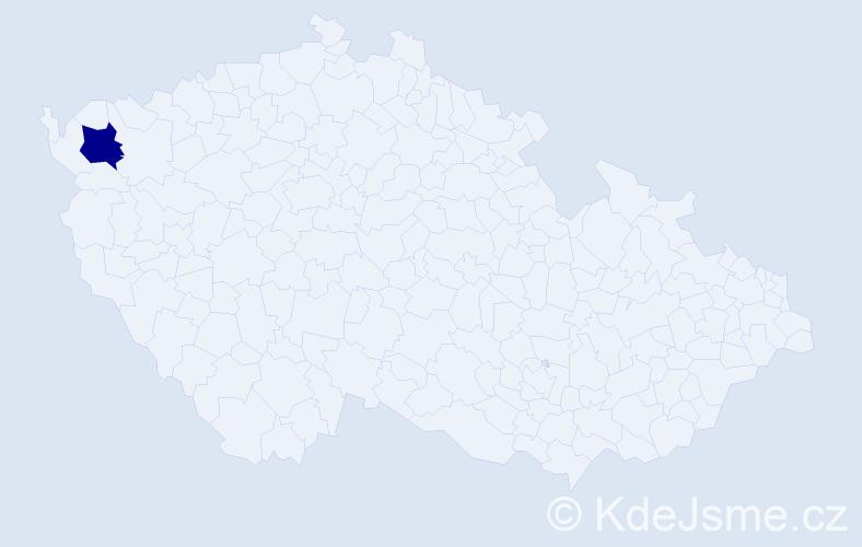 """Příjmení: '""""Irlbeková Miltová""""', počet výskytů 1 v celé ČR"""