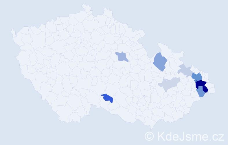 Příjmení: 'Habrnalová', počet výskytů 29 v celé ČR