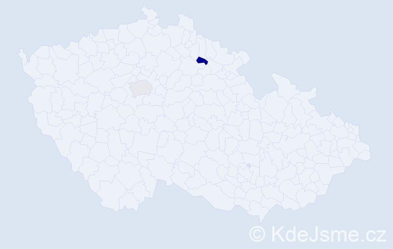 Příjmení: 'Banhová', počet výskytů 2 v celé ČR