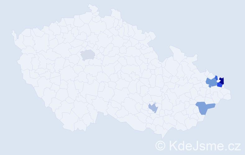 Příjmení: 'Bojtošová', počet výskytů 17 v celé ČR