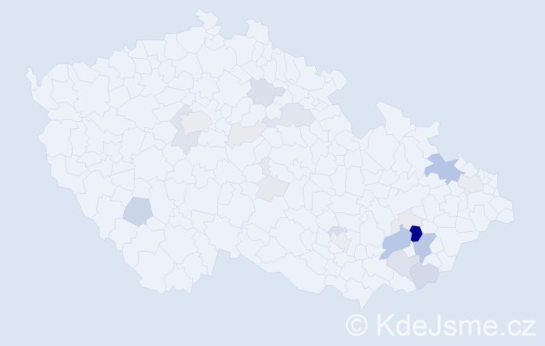 Příjmení: 'Grygera', počet výskytů 77 v celé ČR
