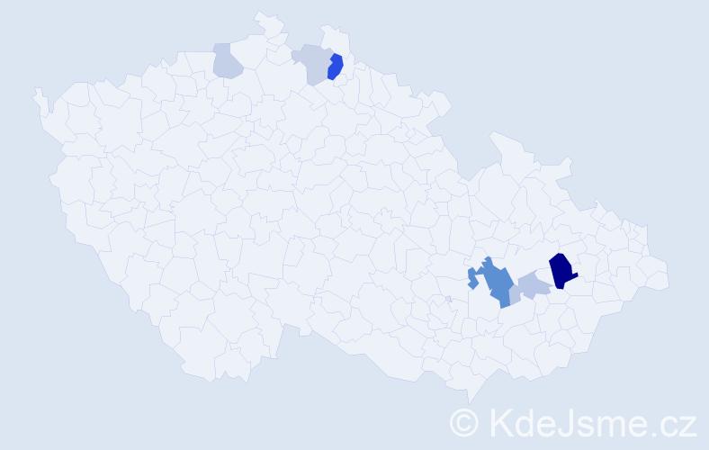 Příjmení: 'Hriníková', počet výskytů 15 v celé ČR