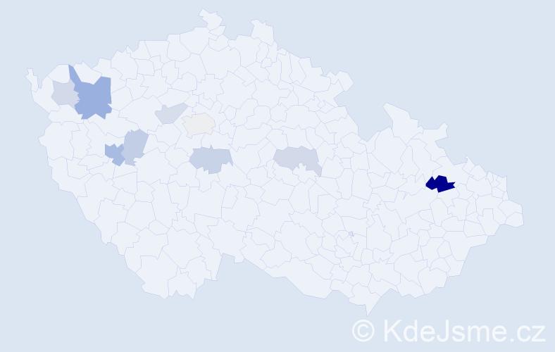 Příjmení: 'Kuffner', počet výskytů 16 v celé ČR