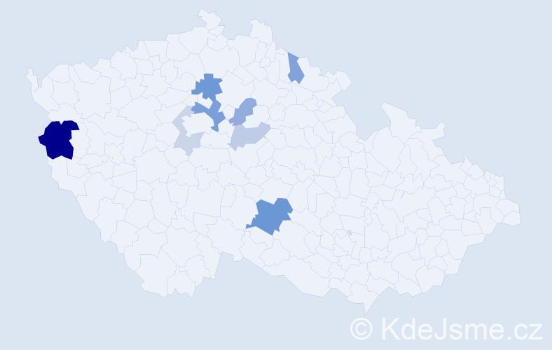 Příjmení: 'Maňo', počet výskytů 18 v celé ČR