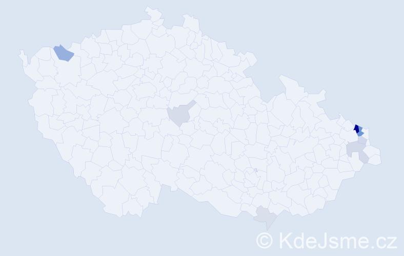 Příjmení: 'Babiszová', počet výskytů 25 v celé ČR