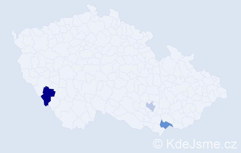Příjmení: 'Jerabek', počet výskytů 3 v celé ČR