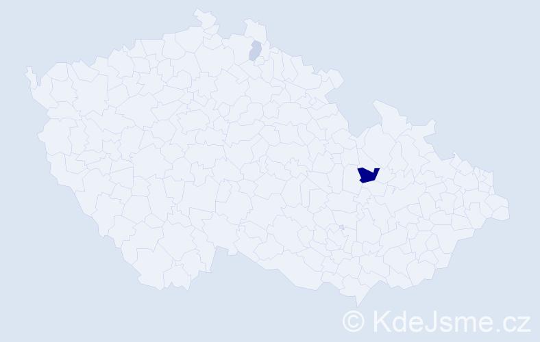 Příjmení: 'Činčarová', počet výskytů 5 v celé ČR