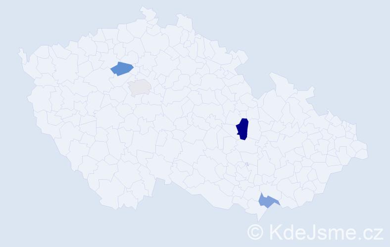 Příjmení: 'Belejčáková', počet výskytů 5 v celé ČR
