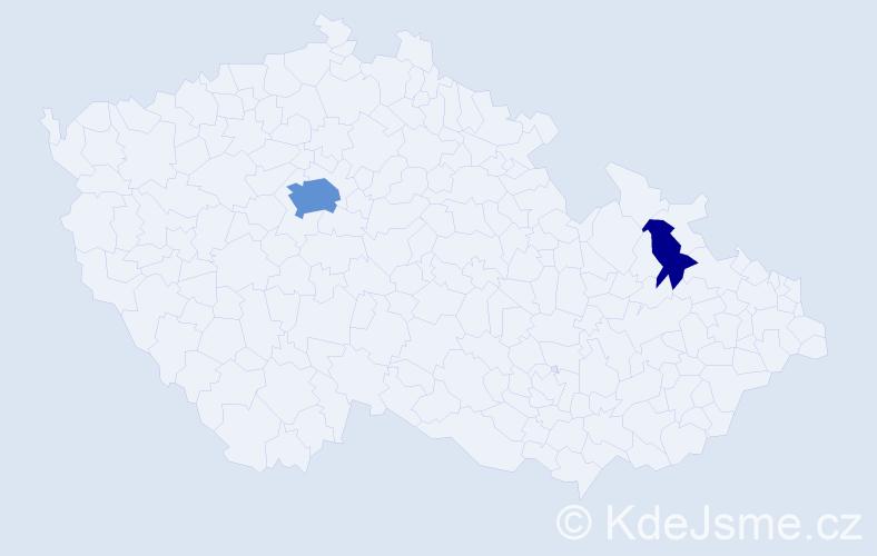 Příjmení: 'Dahmouh', počet výskytů 8 v celé ČR