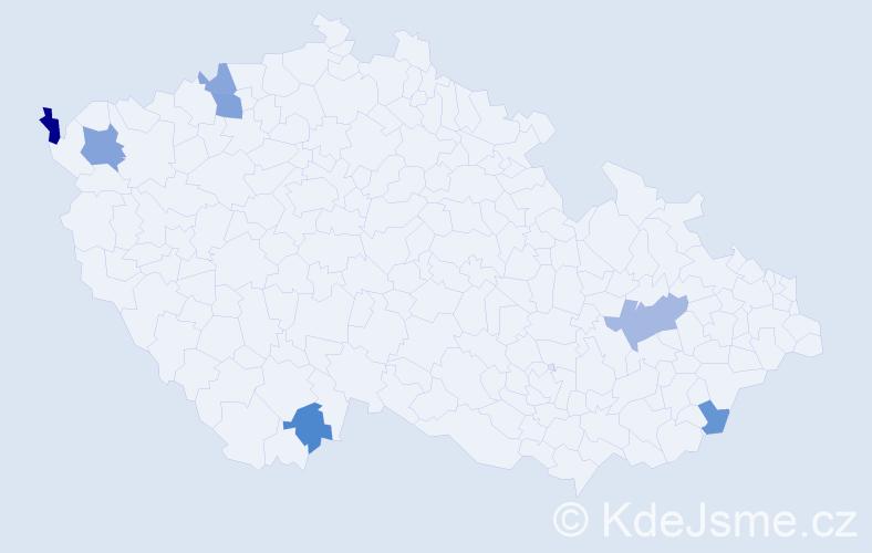 Příjmení: 'Hacaj', počet výskytů 11 v celé ČR