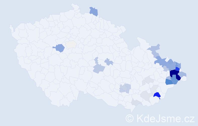 Příjmení: 'Kaniok', počet výskytů 129 v celé ČR