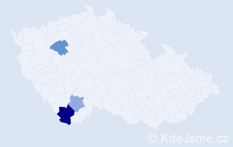 Příjmení: 'Bodvanská', počet výskytů 4 v celé ČR