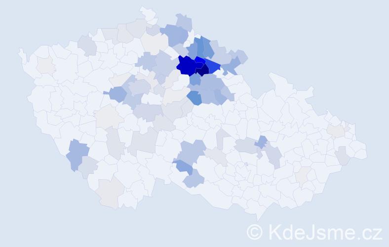 Příjmení: 'Čeřovský', počet výskytů 390 v celé ČR