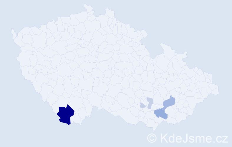 Příjmení: 'Kamera', počet výskytů 13 v celé ČR