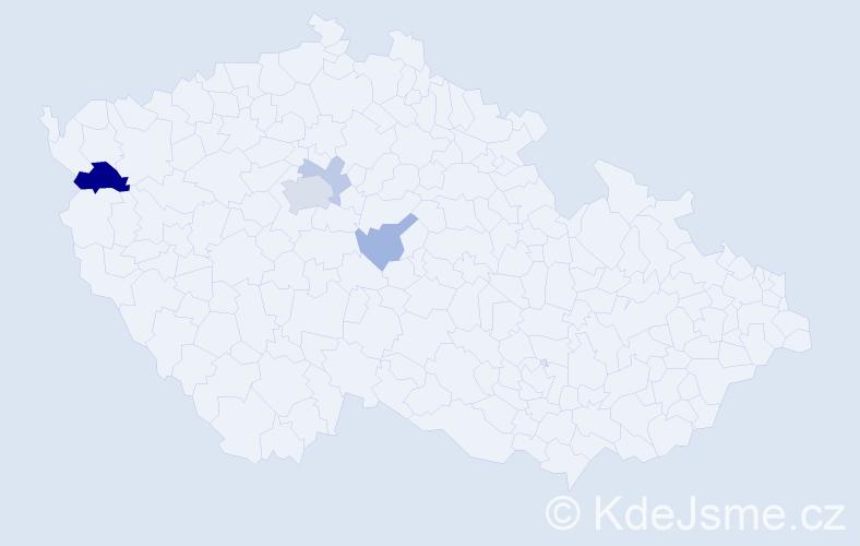 Příjmení: 'Kločurek', počet výskytů 9 v celé ČR