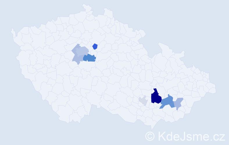 Příjmení: 'Eim', počet výskytů 19 v celé ČR
