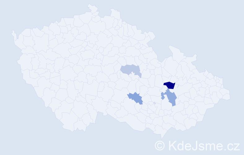 Příjmení: 'Hekalová', počet výskytů 7 v celé ČR