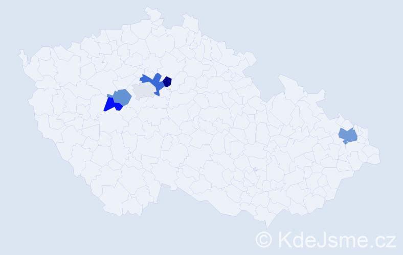 Příjmení: 'Cynková', počet výskytů 9 v celé ČR