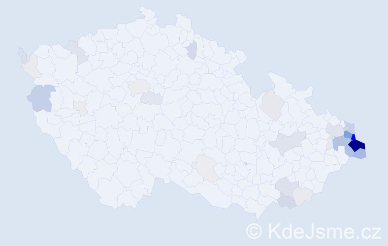 Příjmení: 'Kisza', počet výskytů 193 v celé ČR
