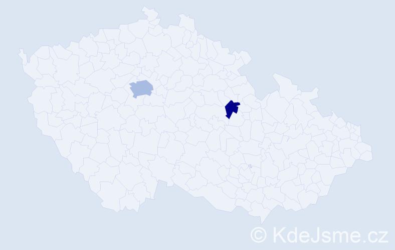 Příjmení: 'Hojdik', počet výskytů 4 v celé ČR