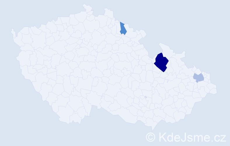 Příjmení: 'Gierová', počet výskytů 8 v celé ČR