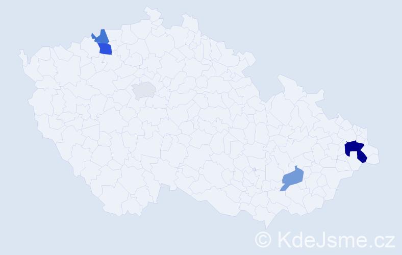 Příjmení: 'Glivická', počet výskytů 9 v celé ČR