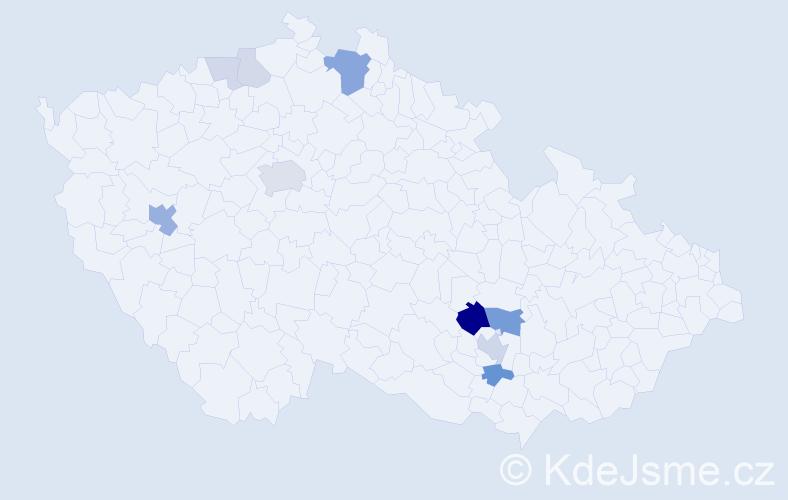 Příjmení: 'Hvízdal', počet výskytů 28 v celé ČR