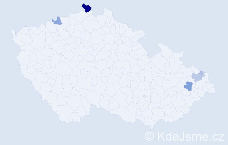 Příjmení: 'Dulai', počet výskytů 20 v celé ČR
