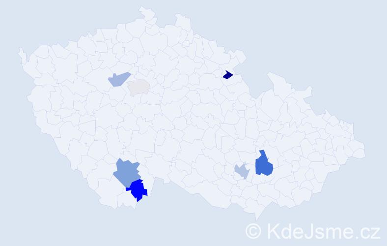 Příjmení: 'Čuhaj', počet výskytů 10 v celé ČR