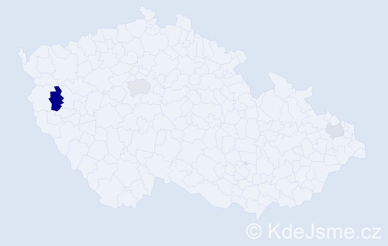 Příjmení: 'Koči', počet výskytů 5 v celé ČR
