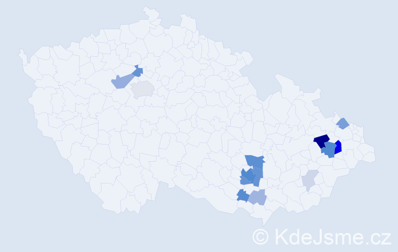 Příjmení: 'Baršová', počet výskytů 54 v celé ČR