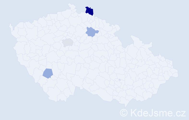 Příjmení: 'Homér', počet výskytů 8 v celé ČR