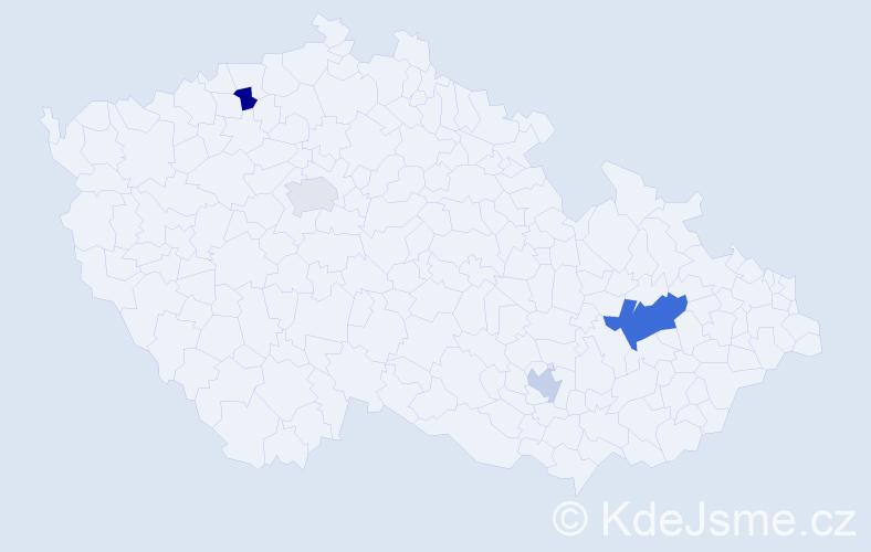 Příjmení: 'Hufnagel', počet výskytů 6 v celé ČR