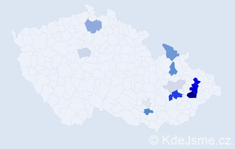 Příjmení: 'Jankotová', počet výskytů 38 v celé ČR