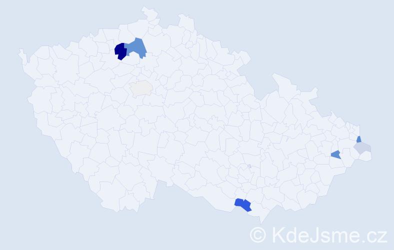 Příjmení: 'Fabičovič', počet výskytů 23 v celé ČR