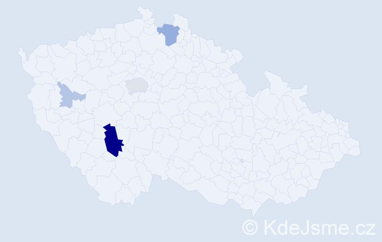 Příjmení: 'Famfulová', počet výskytů 16 v celé ČR