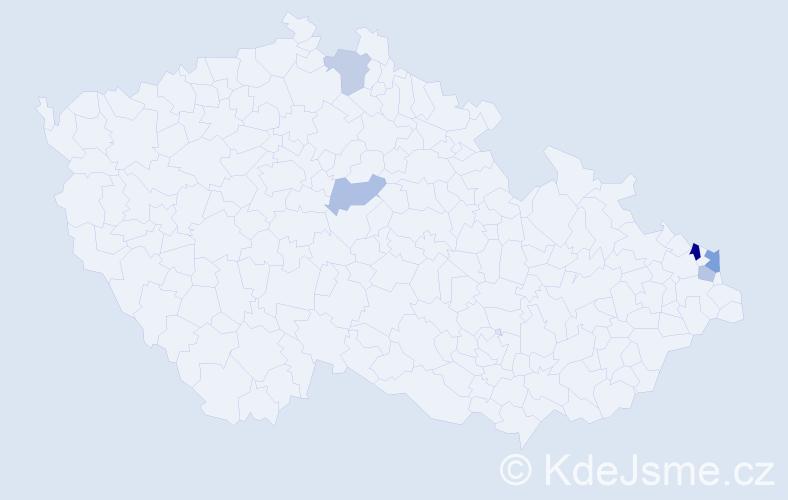 Příjmení: 'Čáliková', počet výskytů 8 v celé ČR