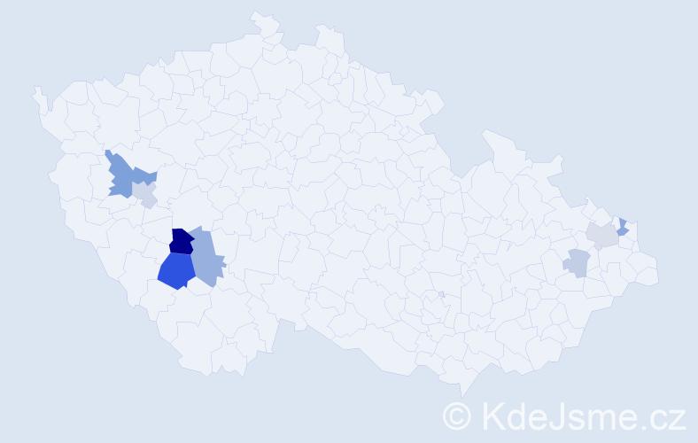 Příjmení: 'Farek', počet výskytů 21 v celé ČR