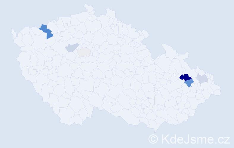 Příjmení: 'Hajchl', počet výskytů 10 v celé ČR