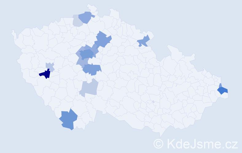 Příjmení: 'Fleischhans', počet výskytů 54 v celé ČR