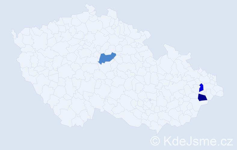 Příjmení: 'Čelár', počet výskytů 3 v celé ČR