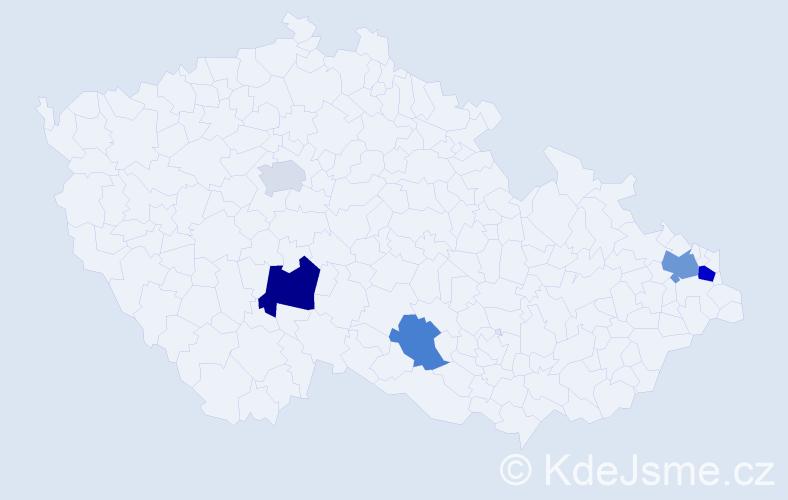 Příjmení: 'Kubinčiak', počet výskytů 8 v celé ČR