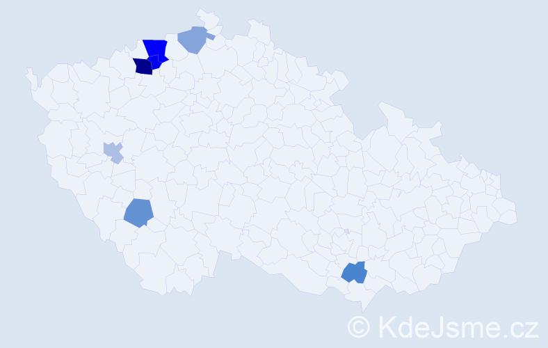 Příjmení: 'Gojdič', počet výskytů 13 v celé ČR