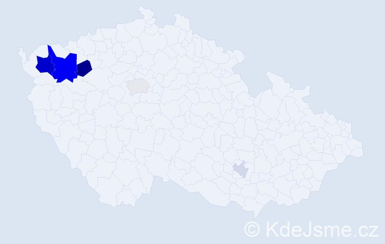 Příjmení: 'Čipka', počet výskytů 11 v celé ČR