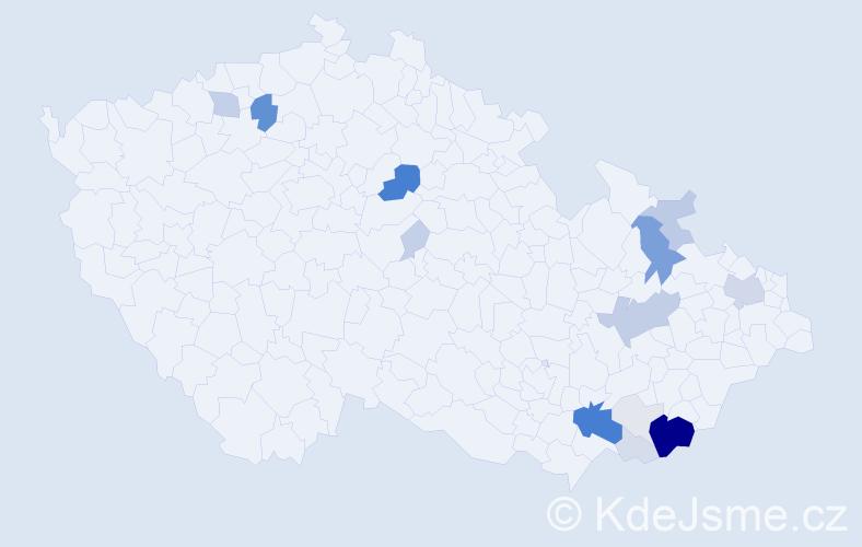 Příjmení: 'Čubík', počet výskytů 73 v celé ČR