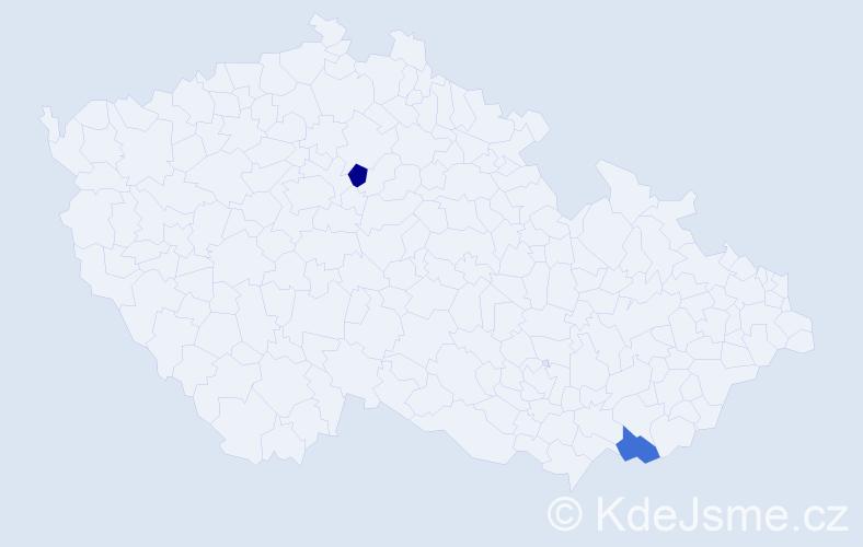 Příjmení: 'Benkó', počet výskytů 2 v celé ČR