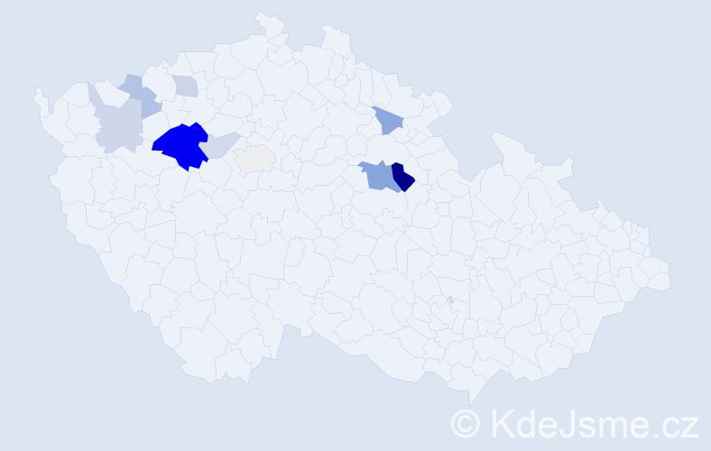 Příjmení: 'Číhařová', počet výskytů 21 v celé ČR