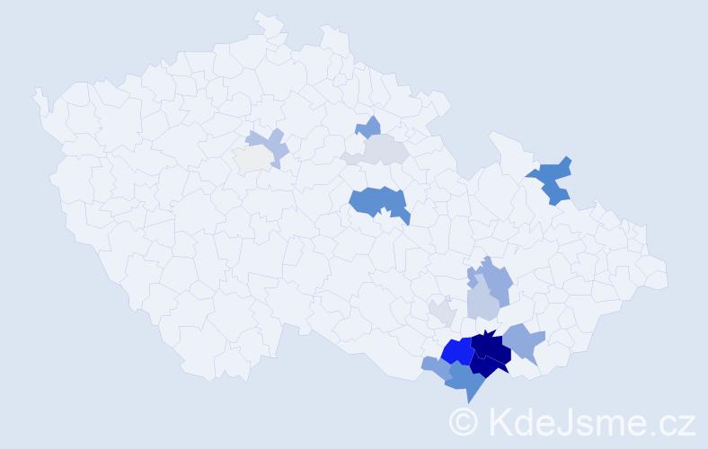 Příjmení: 'Latýn', počet výskytů 58 v celé ČR